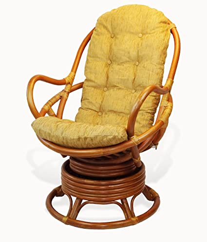 Rattan Wicker Furniture Cushion For Living Lounge Swivel Rocking Chair  Color Light Brown (Just Cushion