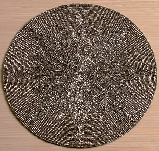 Glass Beaded Silver & Grey Sunburst Placemat - These beaded silver & gray placemats will look fabulous on a Christmas tablescape | http://christmastablescapedecor.com/elegant-silver-table-setting/