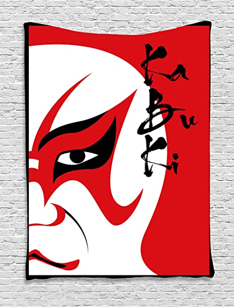 Kabuki Mask Decorazione Arazzo By Ambesonne Stile Asiatico Drama