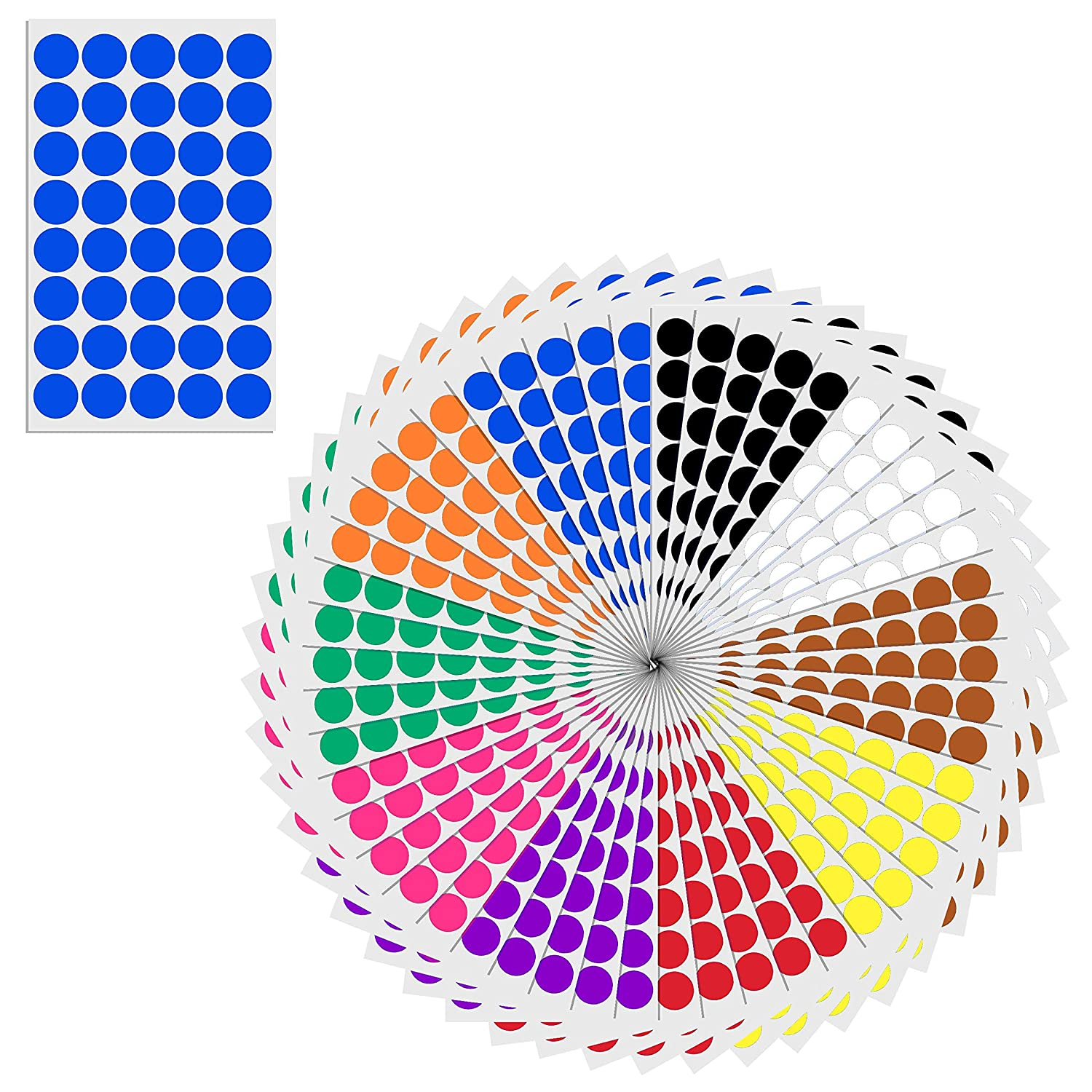 (3/4, 0.75 inch) Round Color Coding Circle Dot Sticker Labels - 10 Assorted Colors, Pack of 2000 TownStix