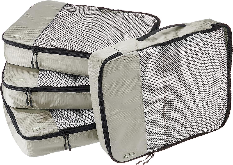   Basics 4 Piece Packing Travel Organizer Cubes Set - Large, Grey   Packing Organizers