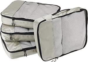 AmazonBasics 4 Piece Packing Travel Organizer Cubes Set - Large, Grey