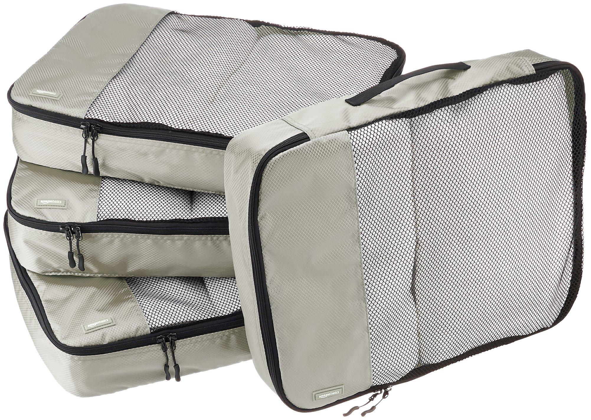 AmazonBasics 4-Piece Packing Cube Set - Large, Gray