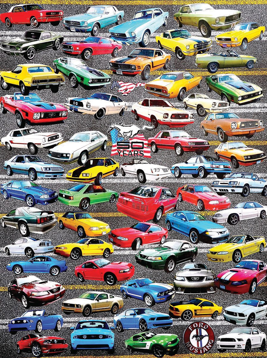 Amazon com white mountain puzzles 50 years of mustangs 550 piece jigsaw puzzle toys games
