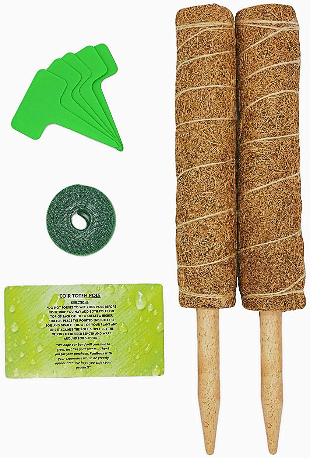 Coir Totem Pole - 15 Inch Plant Stakes and Supports for Climbing, Potted and Indoor Plants - 2 Pcs Eco-Friendly Moss Poles for Plant Growth - Hook and Loop Attachment - Garden Labels Included