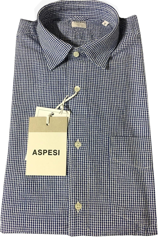ASPESI Camisa de hombre cuadros blanco/azul con bolsillo ...