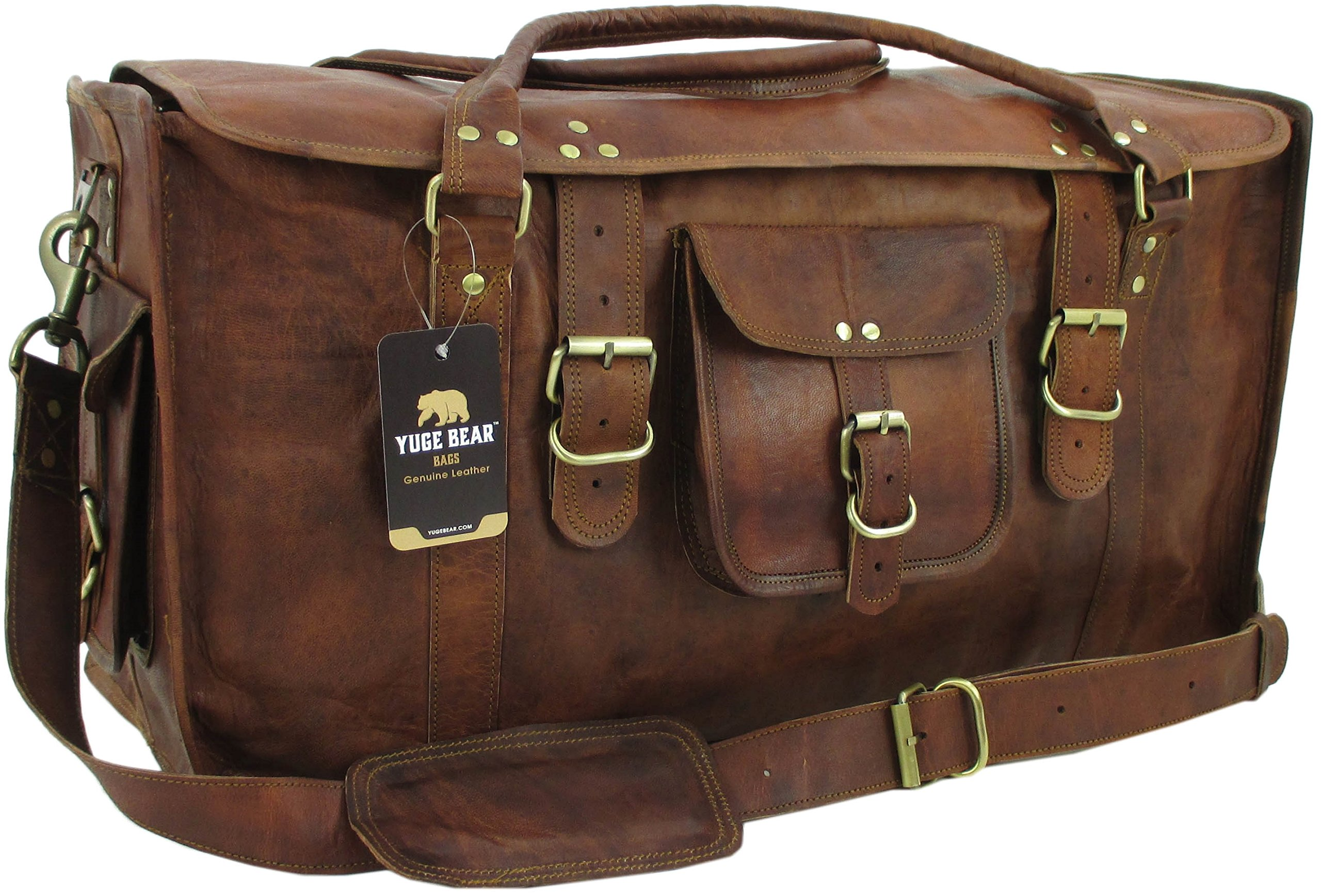 Yuge Bear 24'' FS1 Vintage Genuine Leather Flap Duffel Weekender Bag by Yuge Bear