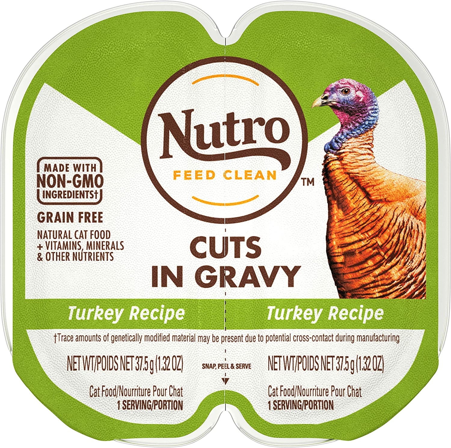 NUTRO Grain Free Natural Soft Wet Cat Food Cuts in Gravy Turkey Recipe, (24) 2.6 oz. PERFECT PORTIONS Twin-Pack Trays