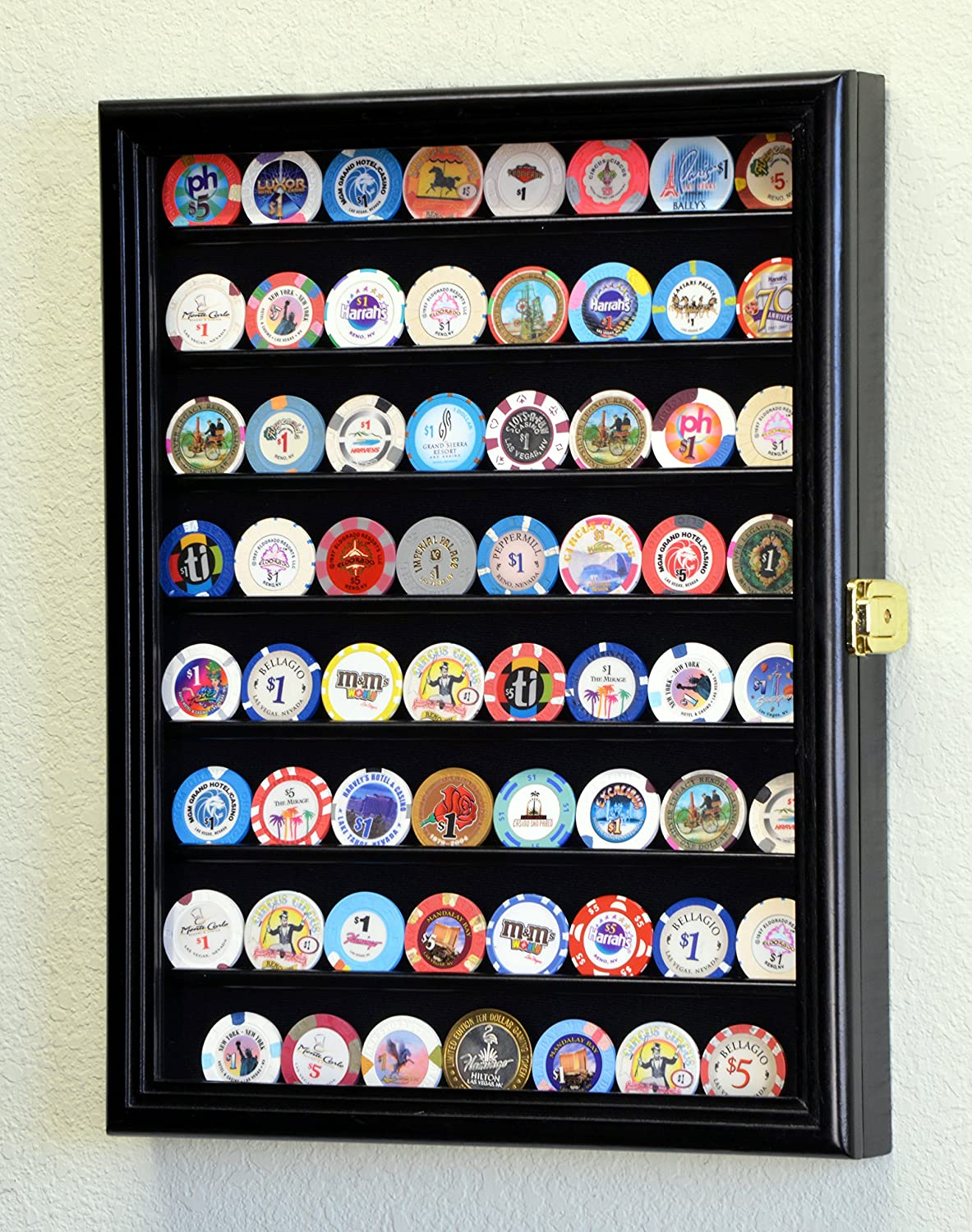 64 Casino Chip Coin Display Case Cabinet Chips Holder Wall Rack 98% UV Lockable