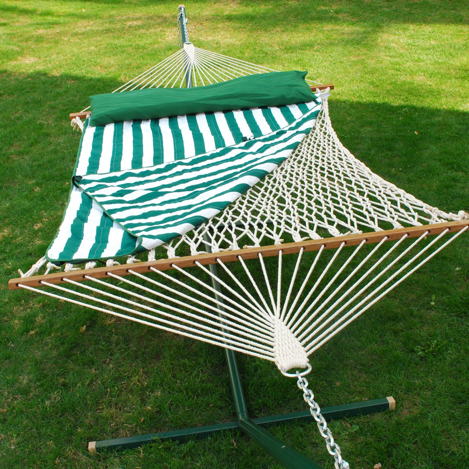 and with sunnydaze cotton rope wooden stand combo cdwhws spreader curved double hammock bars wide person