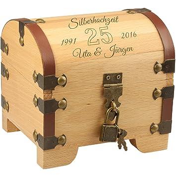 Schatztruhe Silberhochzeit Vintage Holztruhe Mit Schloss Und