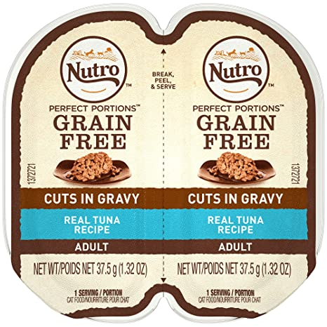 NUTRO PERFECT PORTIONS Grain Free Natural Adult Wet Cat Food Cuts in Gravy Real Tuna Recipe