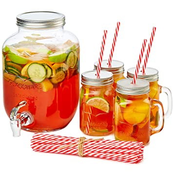 Andrew James cristal dispensador de bebidas con grifo, 4 L de capacidad, bebida dispensador de juego incluye 4 potable tarros con tapas y 20 reutilizable ...