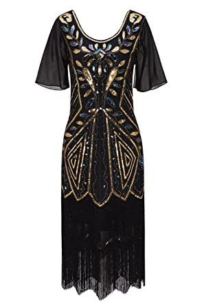 Metme Womens 1920s Great Gatsby Vintage Fringed Sequin Sleeve Flapper Cocktail Party Dress