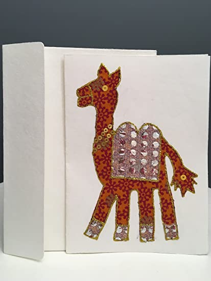 Handmade Ethnic Blank Greeting Card Animals Camel Indian Traditional