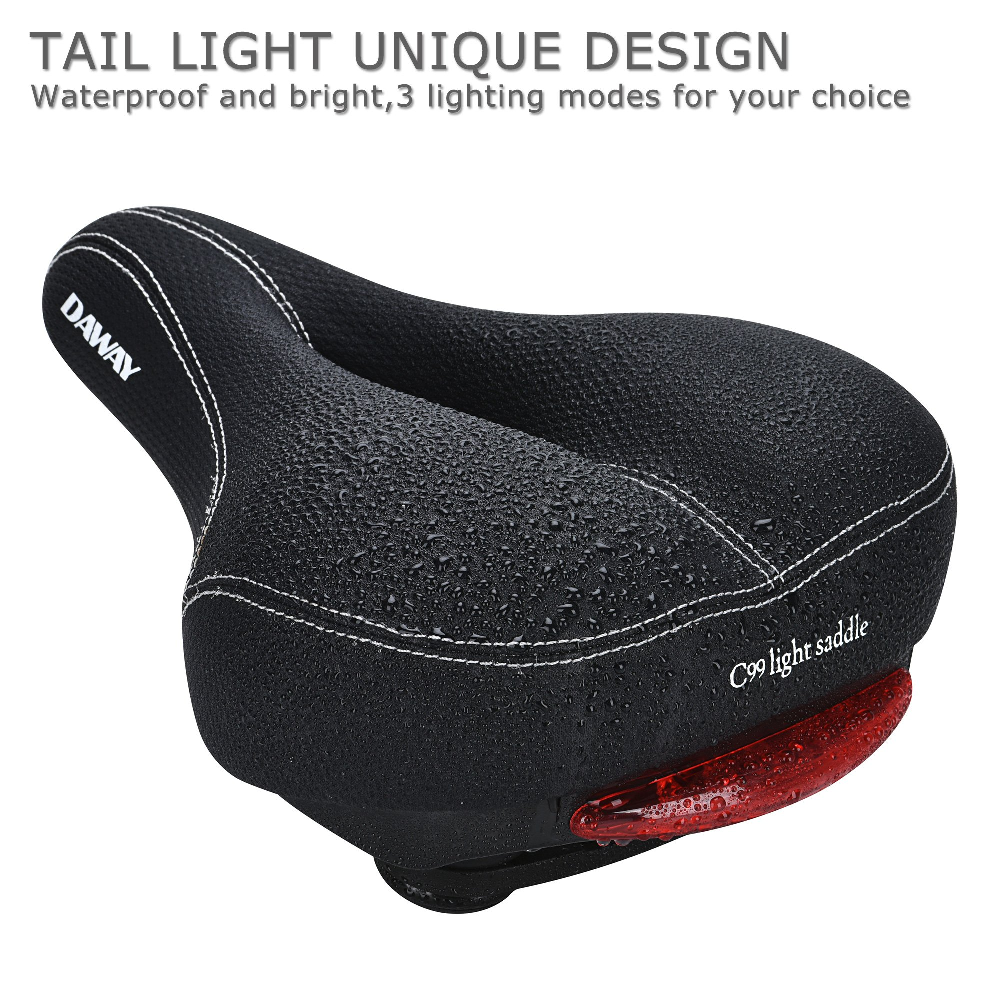DAWAY Comfortable Men Women Bike Seat C99 Memory Foam Padded Leather Wide Bicycle Saddle Cushion with Taillight, Waterproof, Dual Spring Designed, Soft, Breathable, Fit Most Bikes, 1 Year Warranty by DAWAY (Image #2)