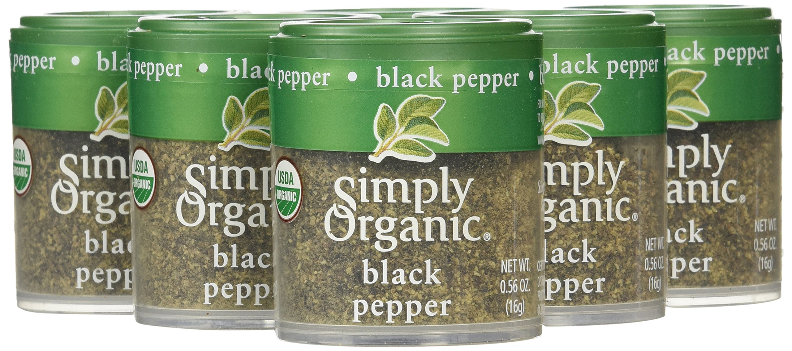 Simply Organic Pepper, Black Medium Grind Certified Organic.56 Ounce Containers (Pack of 6)