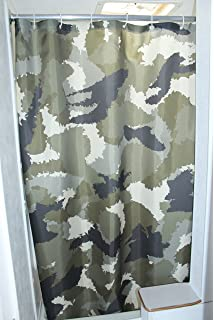 Solid Elements RV Shower Camo Curtain Accessories Gear For Camper Trailer Camping Bathroom Shorter And