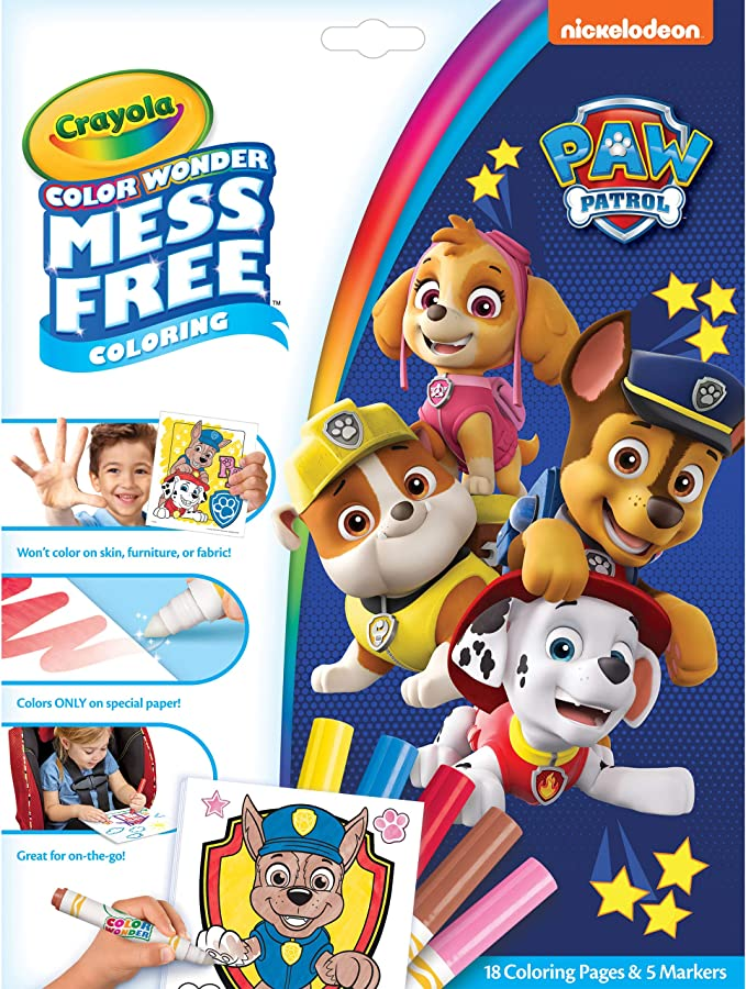 Amazon.com: Crayola Paw Patrol Color Wonder, Mess Free Coloring Pages &  Markers, Styles May Vary, Gift: Toys & Games