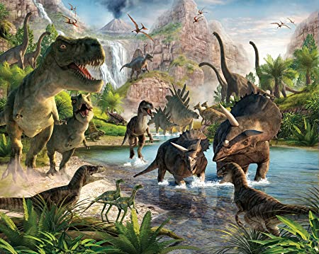 Walltastic Dinosaur Land Wallpaper Mural 8ft X 10ft: Amazon.co.uk: DIY U0026  Tools