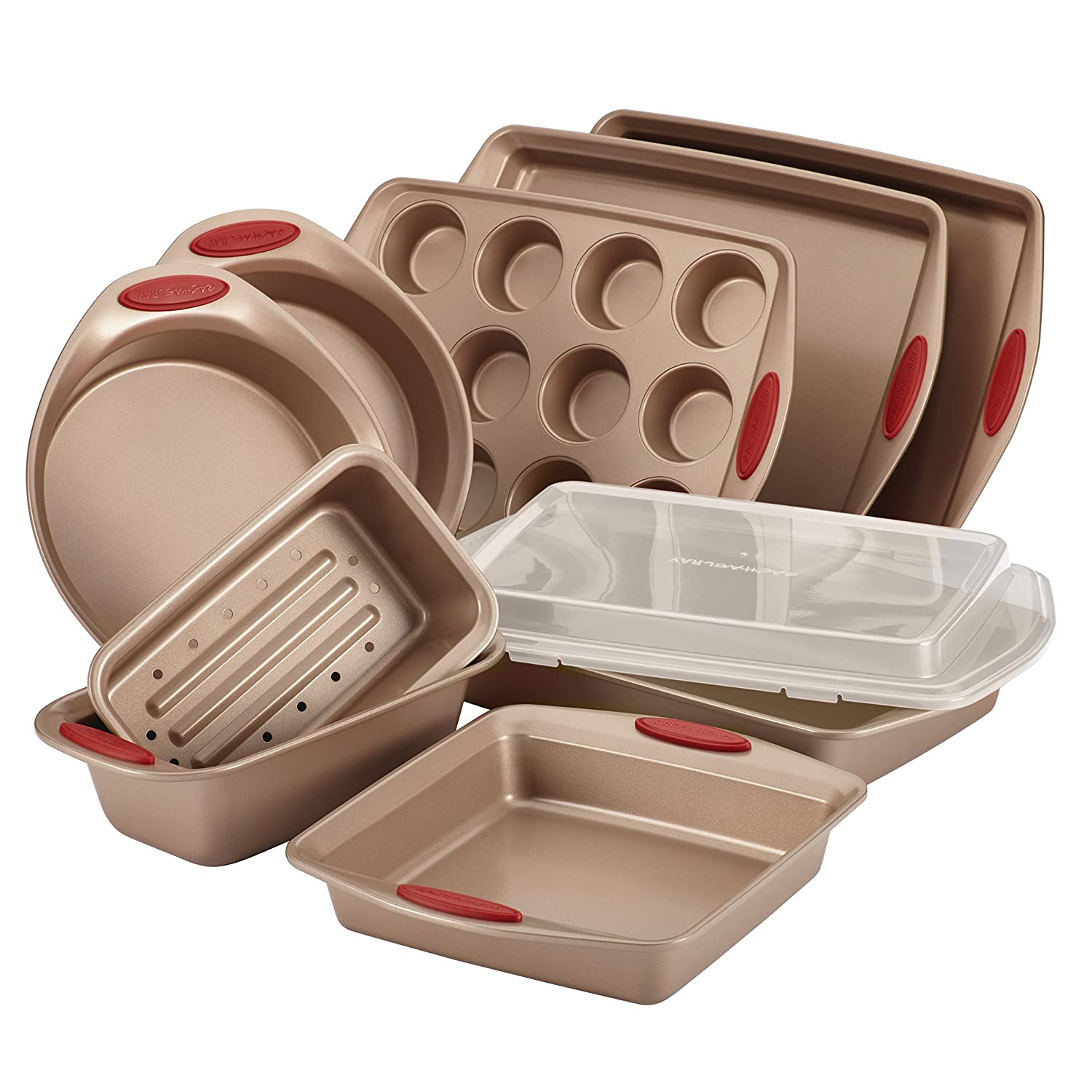 Rachael Ray Cucina Nonstick Bakeware 10-Piece Set, Latte Brown with Cranberry Red Handle Grips 52410
