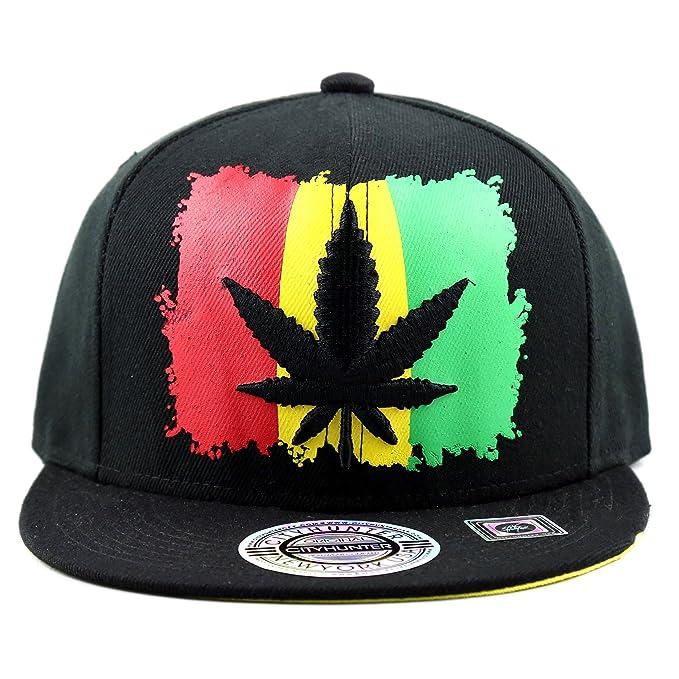 3a9eb0bef5c8f The Hat Depot 100CF1569 Rasta Leaf With Flag Flatbill Snapback Hat ...