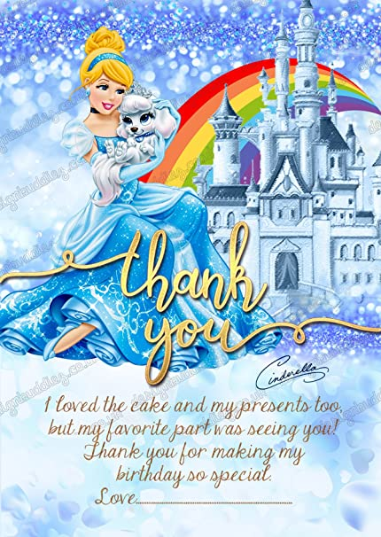 Girls disney princess cinderella birthday party invitations thank girls disney princess cinderella birthday party invitations thank you cards free envelopes thank filmwisefo