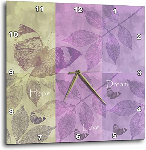 3dRose DPP_99238_3 Hope, Love, Dream Inspirational Butterflies and Leaves-Wall Clock, 15 by 15-Inch