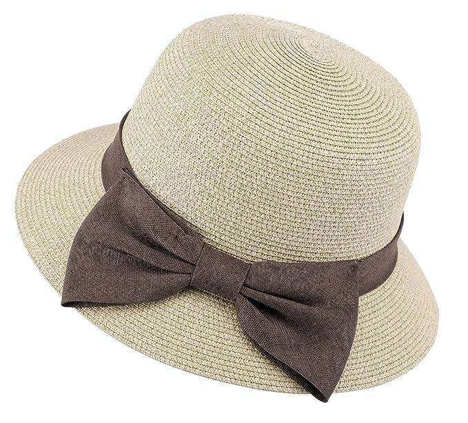 Straw Visor Womens UPF 50+ Wide Brim Braided Sun hat w Decorative ... b405a18ae43f
