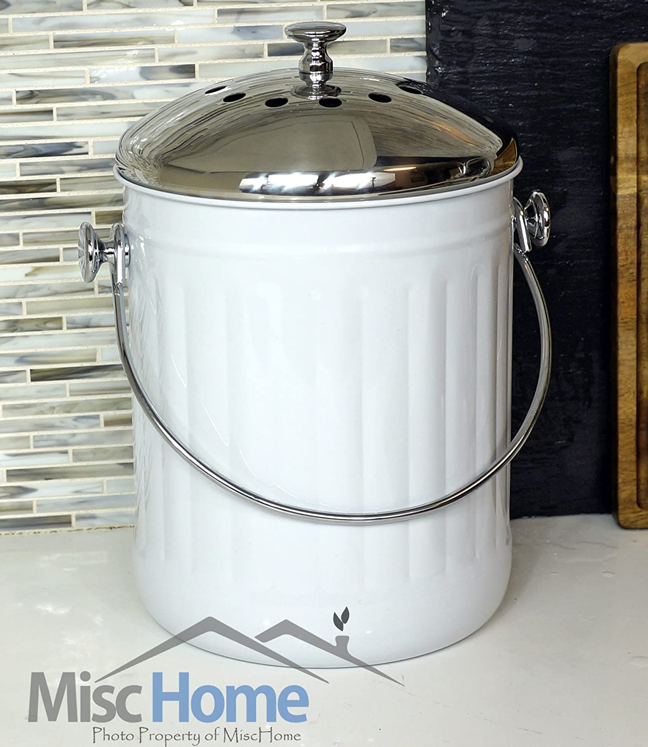 Amazon.com: Indoor Kitchen Stainless Steel Compost Bin   White   1.2 Gallon  Container With Double Charcoal Filter For Odor Absorbing   Perfect Caddy  For Any ...