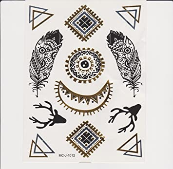 Royal Swan Designs Hip Indie Tatuajes temporales metálicos plumas ...