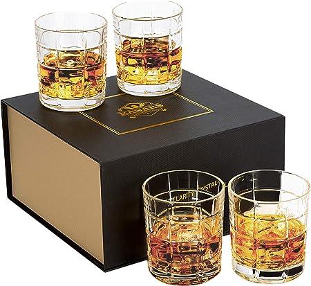 KANARS Juego de 4 Vasos de Whisky, Vaso de Whisky Robusto Cristalino 100% Sin Plomo para Escocés, Borbón y Más, 300ml, Hermosa Caja de Regalo