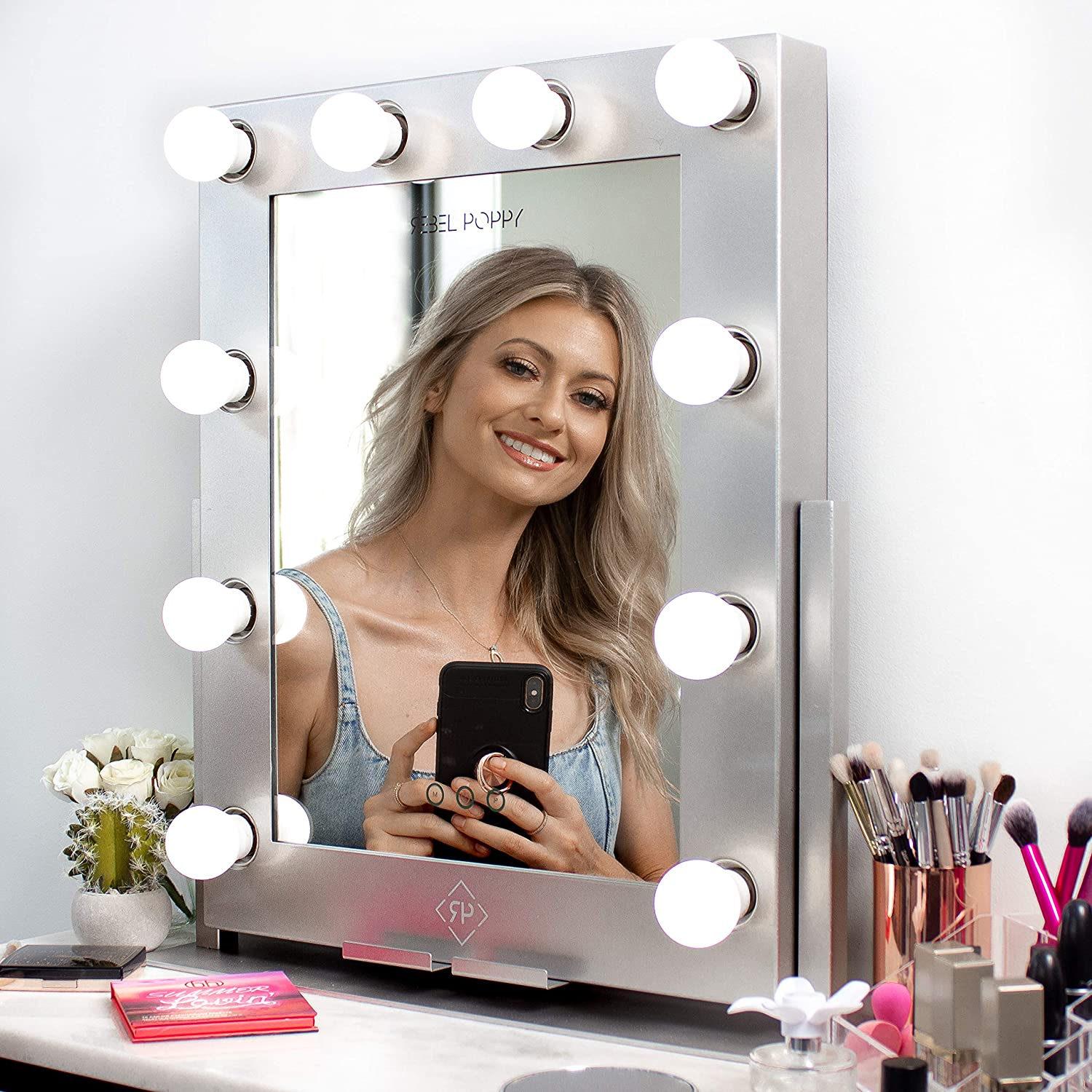 REBEL POPPY Vanity Mirrors with LED Lights, Phone Mount, Dim Lighting Touch Control, 21.5 x 19 , Fogless – Hollywood Mirror and Magnifying Set – GLAM Silver