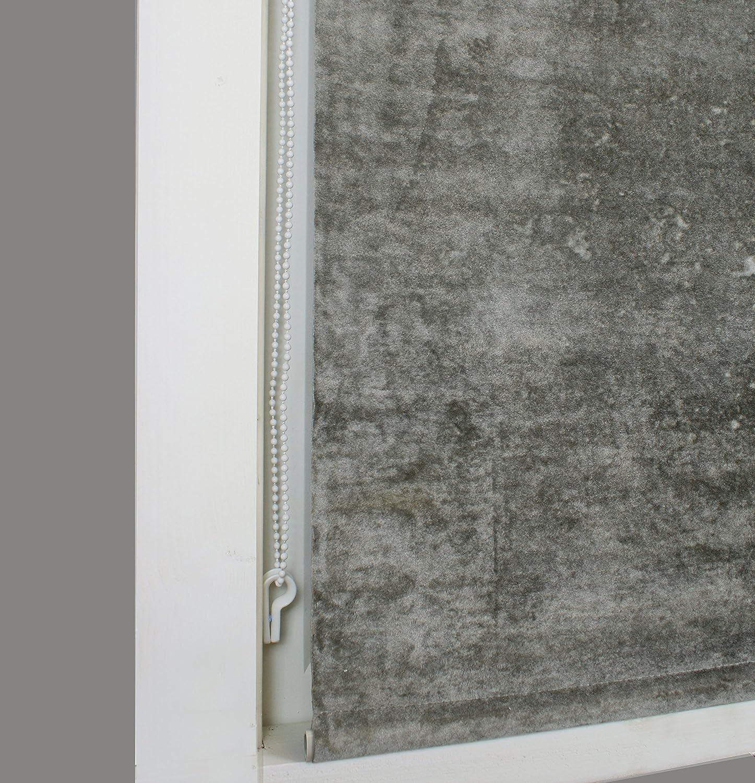 61cm Crushed Faux Velvet Thermal Roller Blind 2ft Silver -