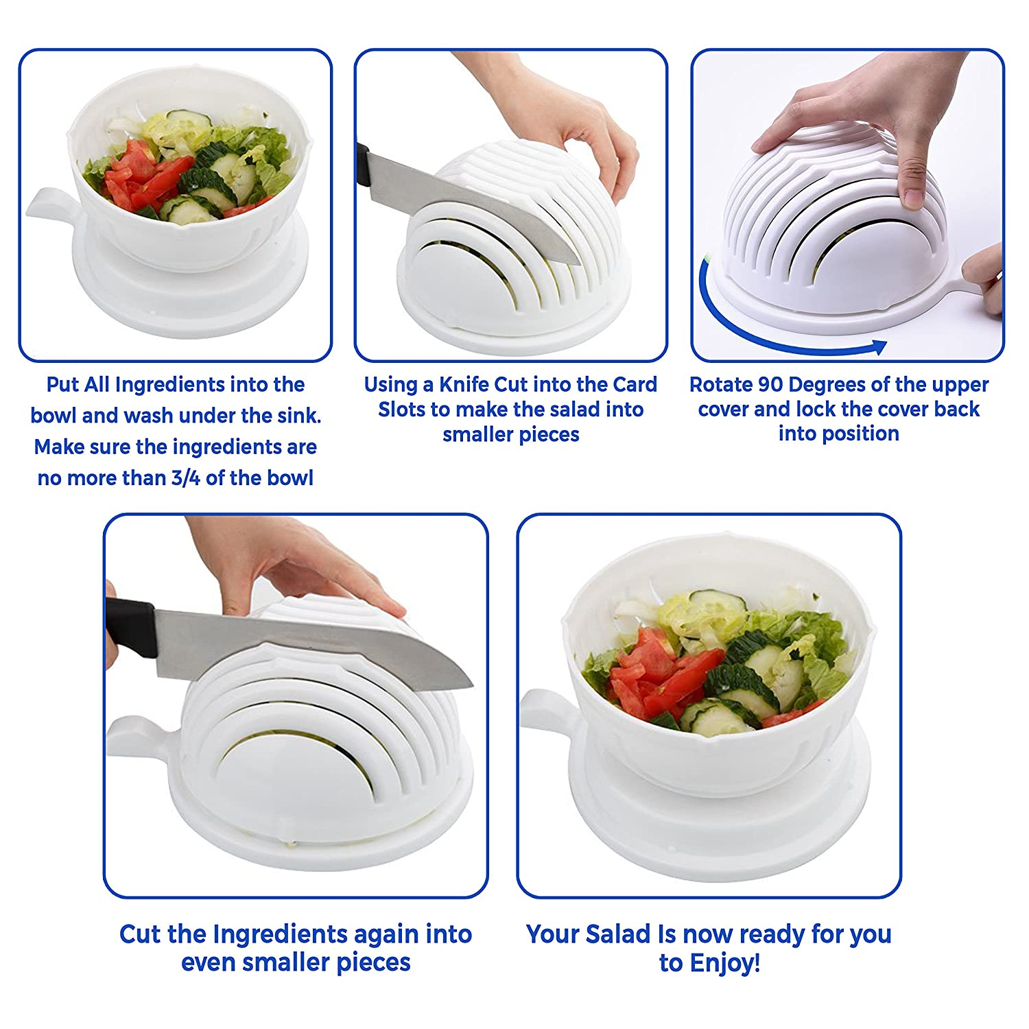 Amazon.com | [2-PACK] White / Green Salad Cutter Bowl Set - 4 In 1 ...