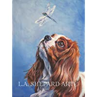 A blenheim Cavalier King Charles Spaniel dog art portrait print of an LA Shepard painting 12x16""