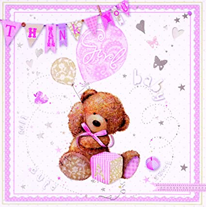 pack Of 6 6 Cards Pack Girl Thank You For The Baby Gift Notes And Envelopes