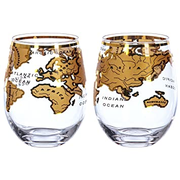 The Mixology Collection Vintage Globe Map Glasses