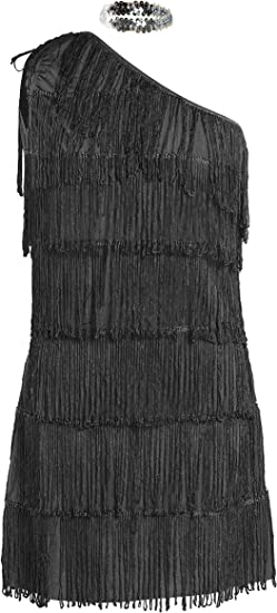 20s Flapper Fancy Dress Costume Black Hen Halloween UK Sizes 8-16