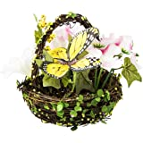 Cypress Home Yellow Butterfly with White Flower Spring Floral Mini Basket