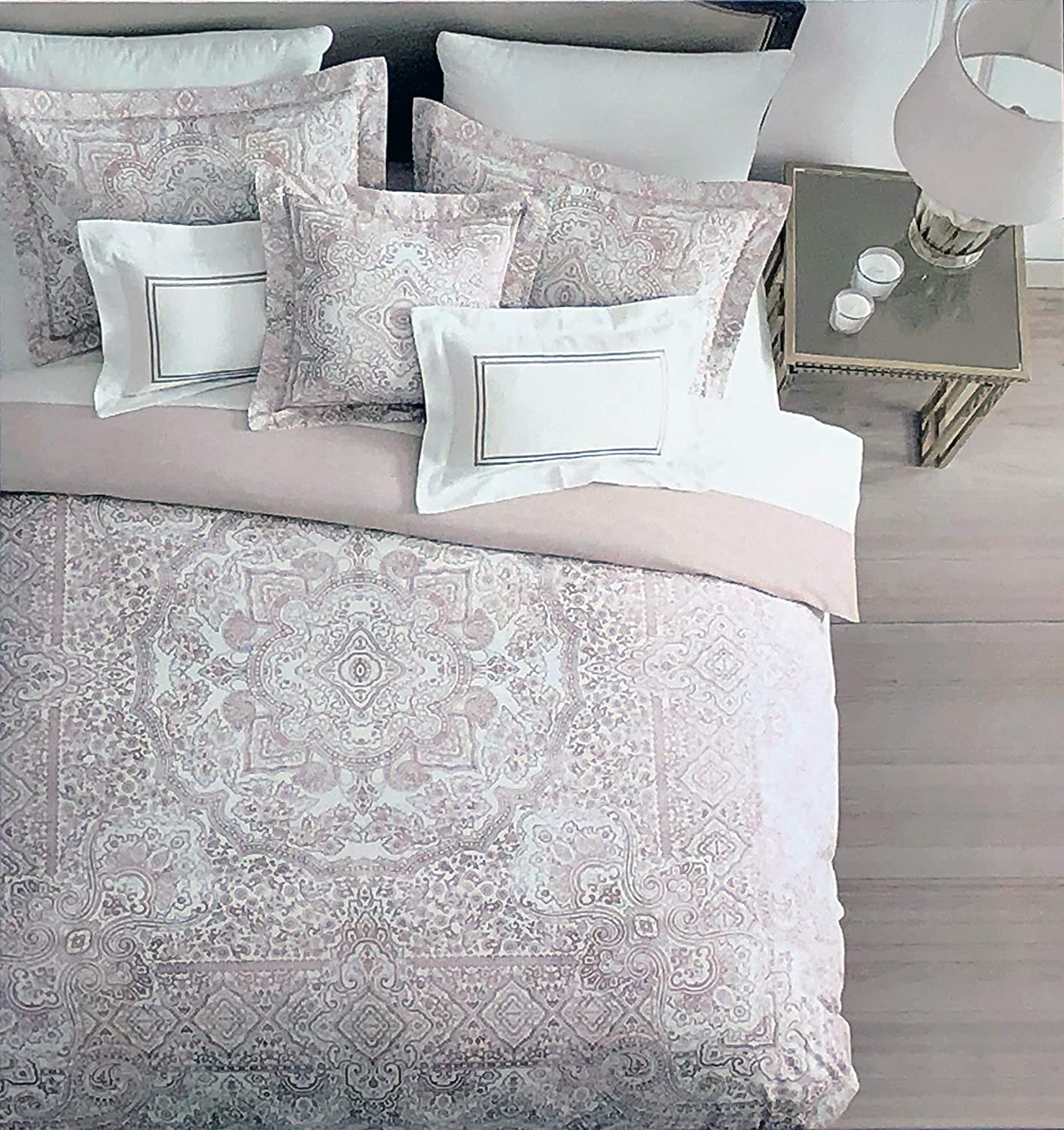 Tahari 3 Pc Reversible Duvet Cover Set Vintage Boho Hippie Style Intricate Tapestry Medallion Pattern Light Pink White, 100% Cotton Luxury Quilt Comforter Cover - Emmalyn (Queen)