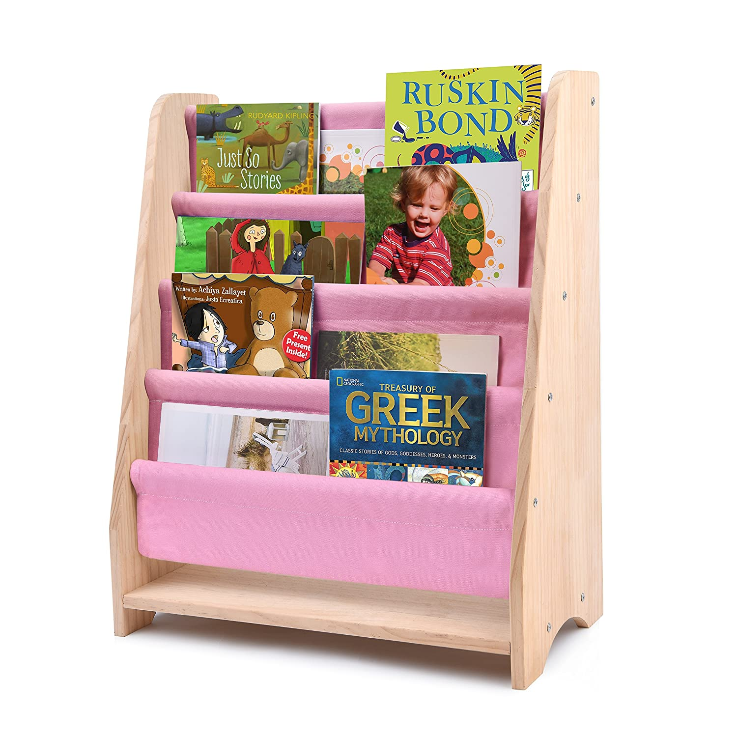 Kids Sling Bookcase, Safe& Care Children's Wooden Rack Storage Bookshelf Features Suitable Height for Toddler with 4 Canvas Shelves Perfect for Protecting Books (Natural) MX-TRADE