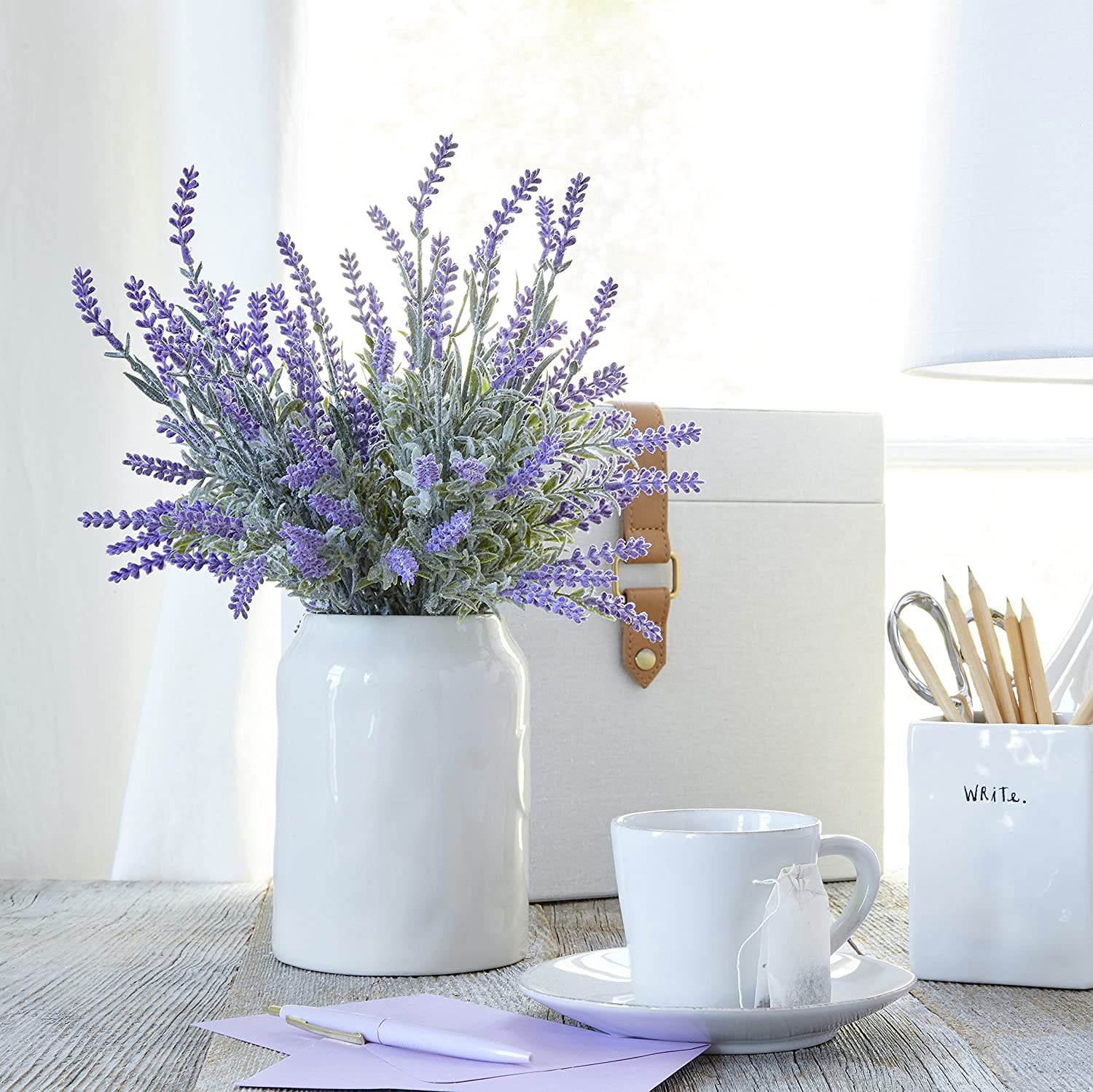 Amazon.com: Butterfly Craze Artificial Lavender Plant with Silk ...