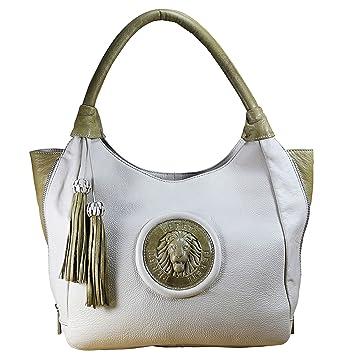 647d1bcab9529 FERETI Schultertasche Zweifarbig Damen Leder Tasche Echt Handtasche Nude  Zwei Farbig Neu Tan Business Designer
