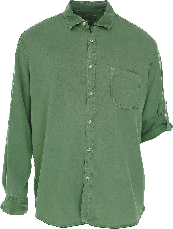 Tasso Elba Island Sunset Wash Long Sleeve Roll Tab Shirt Blue Sage Medium 15-15.5