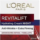 L'Oréal Paris Revitalift Anti-Ageing Night Cream, with Pro-Retinol, Dermatologically Tested, 50ml