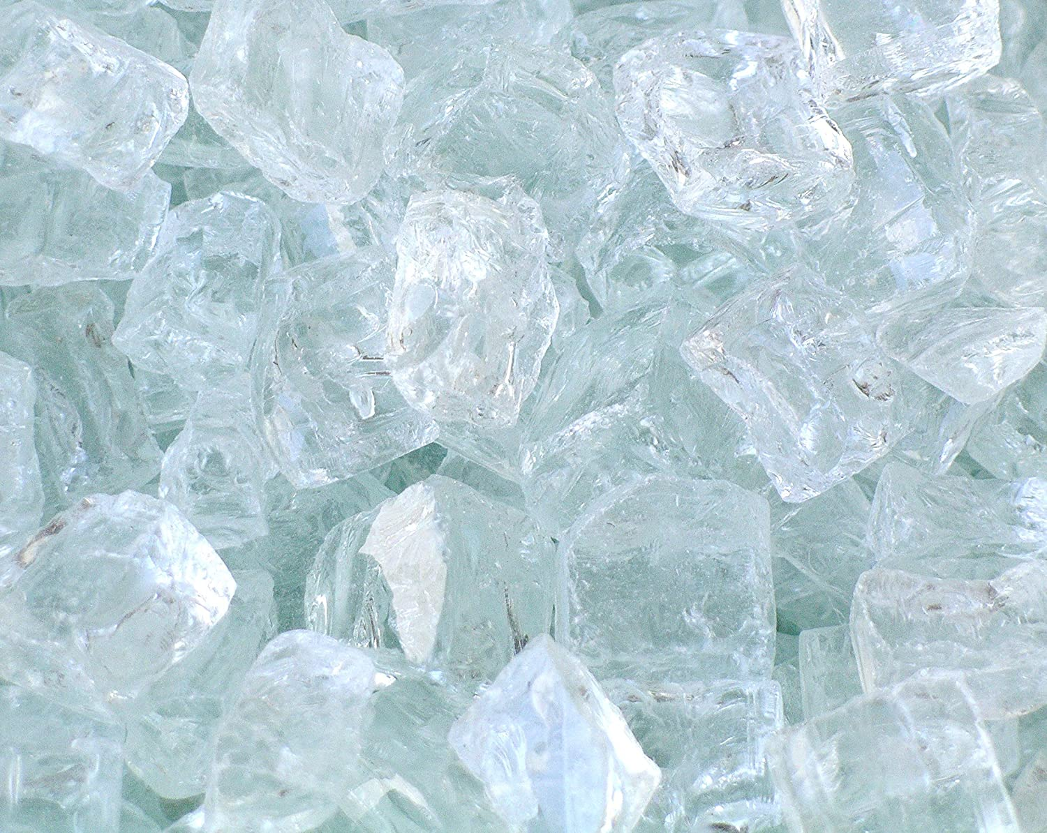 Fire Pit Glass, Chunky ~1/2 Clear with slight aqua tint, 1 LB Fireplace Glass San Diego CLE-H-1