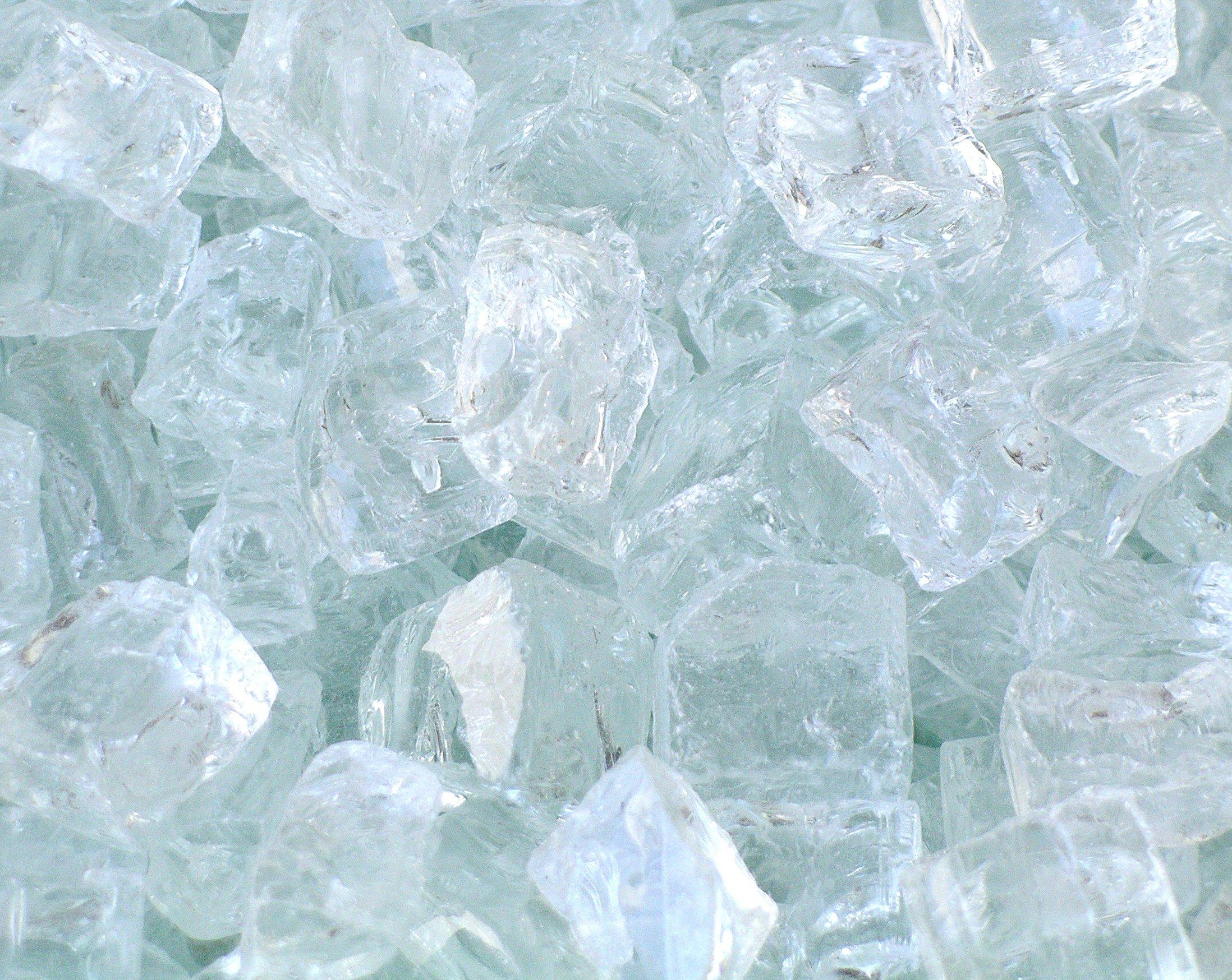 Fire Pit Glass, Chunky ~1/2'' Clear with slight aqua tint, 40 LBS