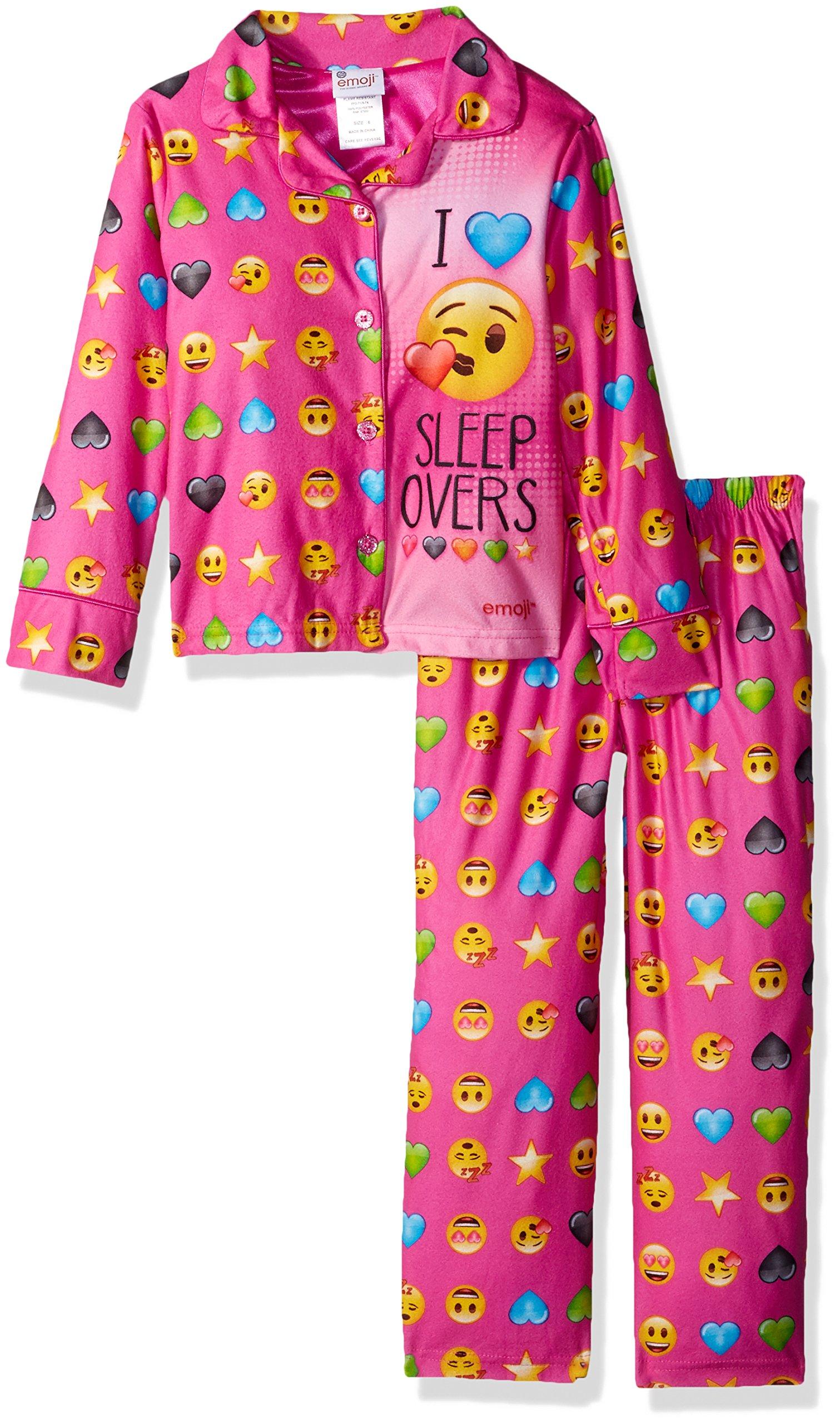 emoji Little Girls' Officially Branded 2-Piece Pajama Coat Set, Pink, 4