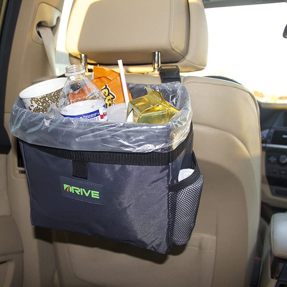 DRIVE Car Bin (Black Strap) - Best Auto Trash Bag for Rubbish, FREE Waste Basket Liners - Hanging Recycle Garbage Can is Universal, Waterproof Organizer Makes a Great Drink Cooler & Road Trip Gift